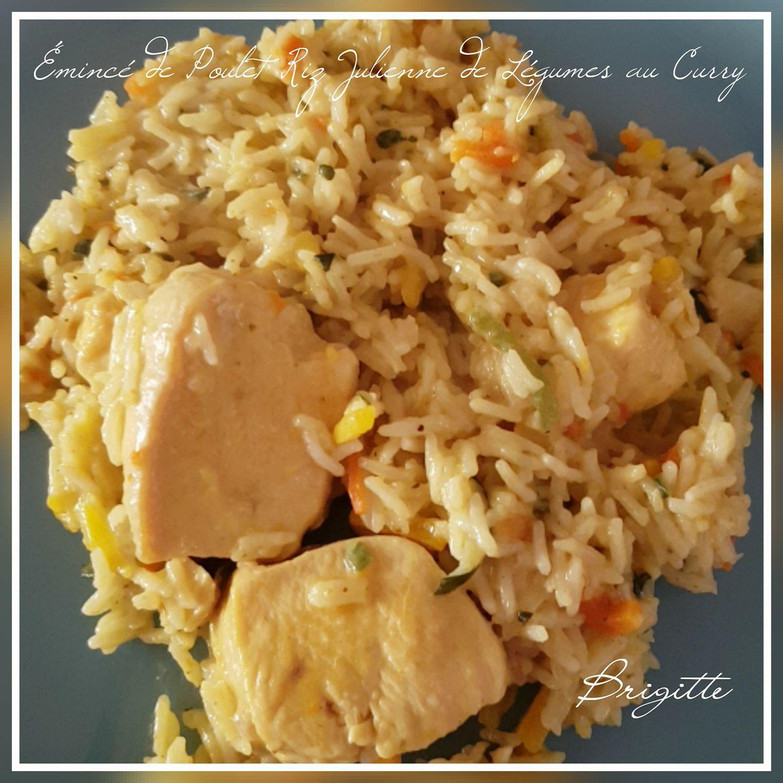 eminc de poulet riz julienne de l gumes au curry recettes cookeo. Black Bedroom Furniture Sets. Home Design Ideas